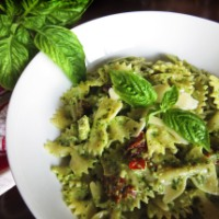 Walnut Basil Pesto with Bowties and Sun-Dried Tomatoes