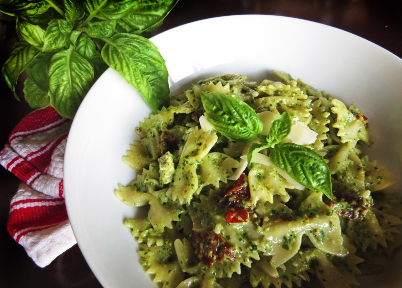 Walnut Basil Pesto with Bowties and Sun-Dried Tomatoes | Girl and Apron