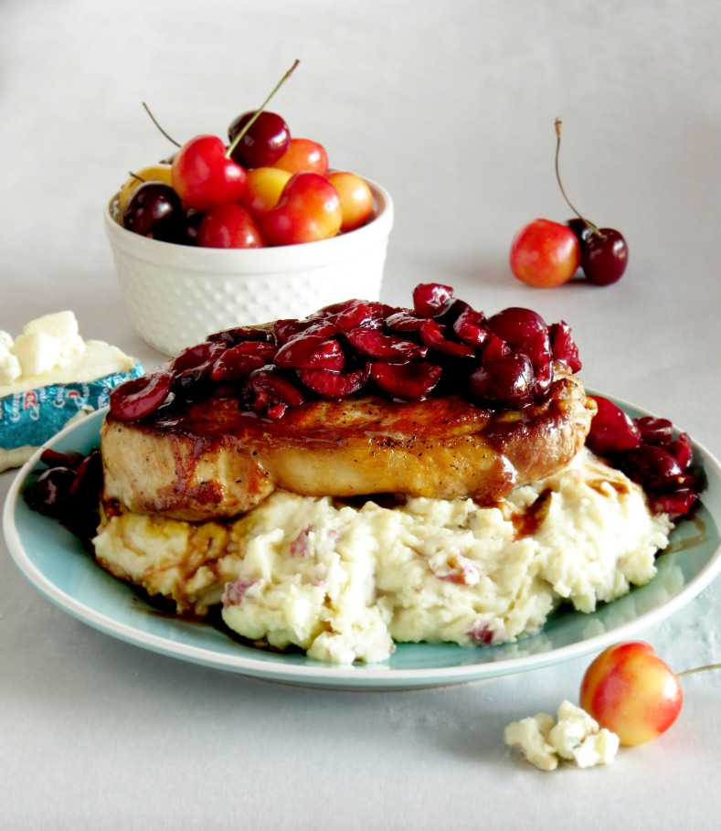 Cherry Balsamic Pork Chops with Gorgonzola Mashed Potatoes | Girl and Apron