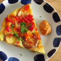 "Spanish Tortilla with Spicy Garlic ""Aioli"""
