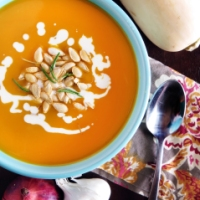Butternut Squash Soup with Crunchy Rosemary Topping