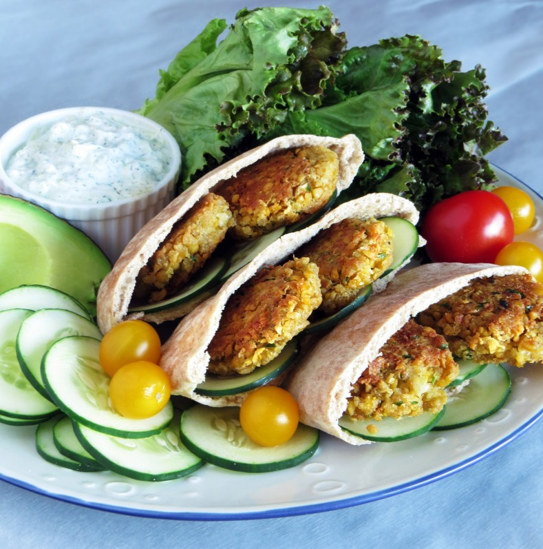 Chickpea Falafel and Easy Tzatziki