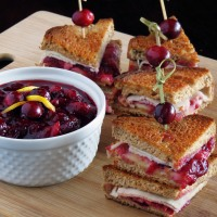 Turkey Melts with Brie + Homemade Cranberry Sauce