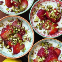 Lemon Yogurt with Strawberries and Pistachios